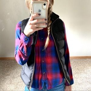 American Eagle Red and Blue Plaid Flannel